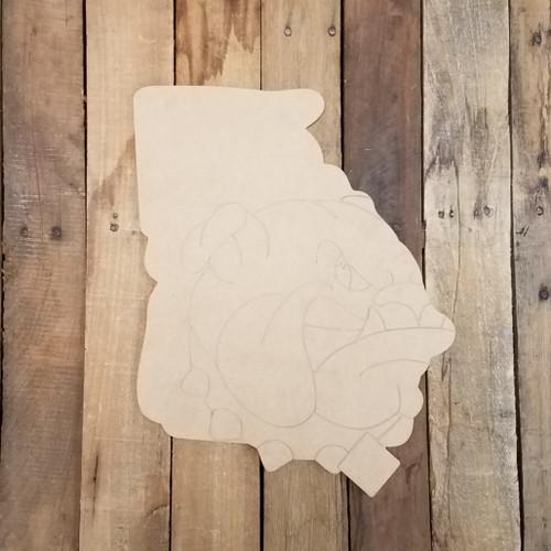 Georgia State Shape With Bulldog, Wood Cutout, Paint by Line