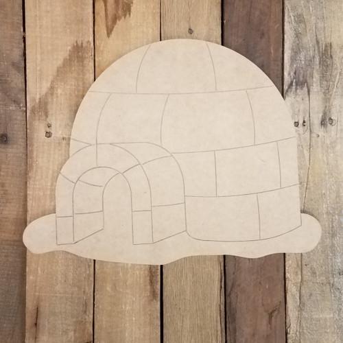 Igloo Art Craft Shape, Wood Cutout, Paint by Line