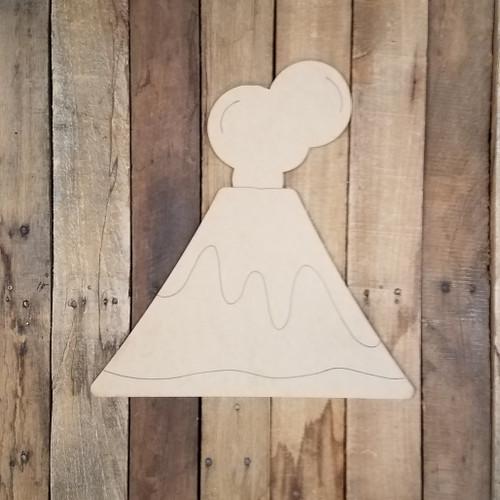 Island Volcano Art Craft Shape, Wood Cutout, Paint by Line