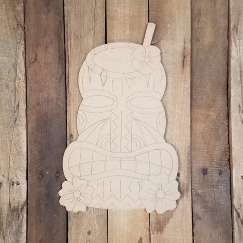 TIki Carving Beach Drink Wood Shape, Paint by Line