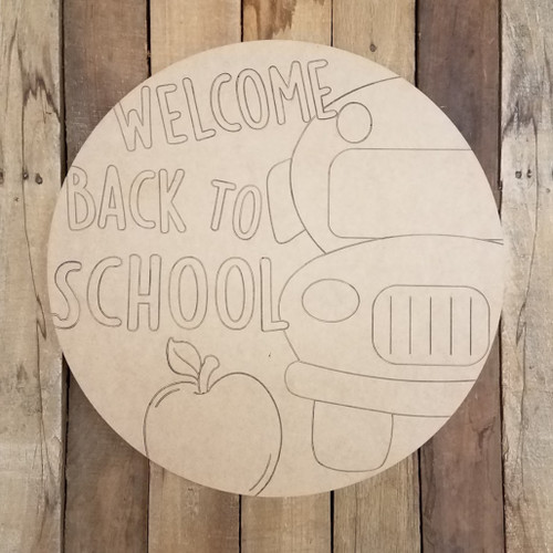 Welcome Back to School Circle Wooden Paintable, Paint by Line
