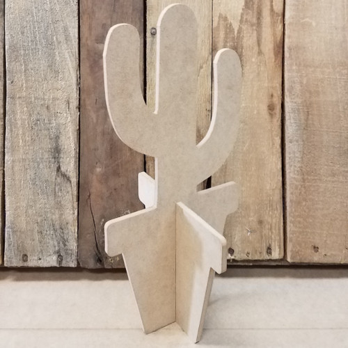Free Standing Cactus With Limbs Flower Pot, Unfinished Wood Cutout