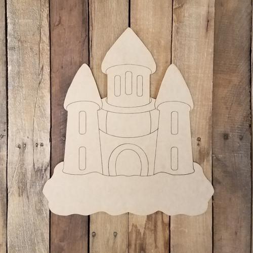 Beach Castle Shape Wood Cutout, Unfinished Craft Paint by Line