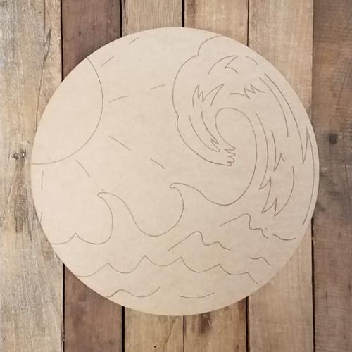 Ocean Wave Circle Plaque Wood Shape, Paint by Line