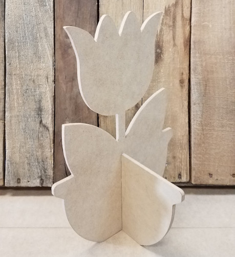 Single Tulip Free Standing Flower Pot, Unfinished Wood Cutout