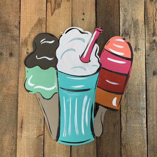 Summer Sweet Cold Treats, Wood Cutout, Shape Paint by Line