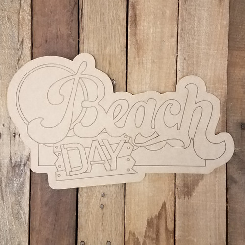 Beach Day Summer Sign Wood Shape, Paint by Line