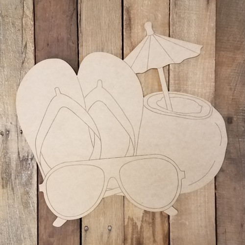 Flip Flops Drink and Shades Cutout Wood Shape, Paint by Line