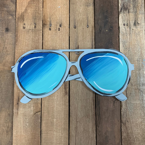 Big Beach Sunglasses, Wood Cutout, Shape Paint by Line