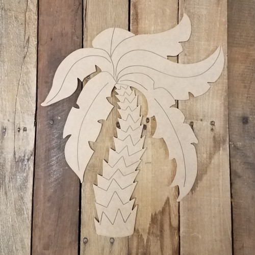 Single Palm Tree Wooden Craft Shape, Paint by Line