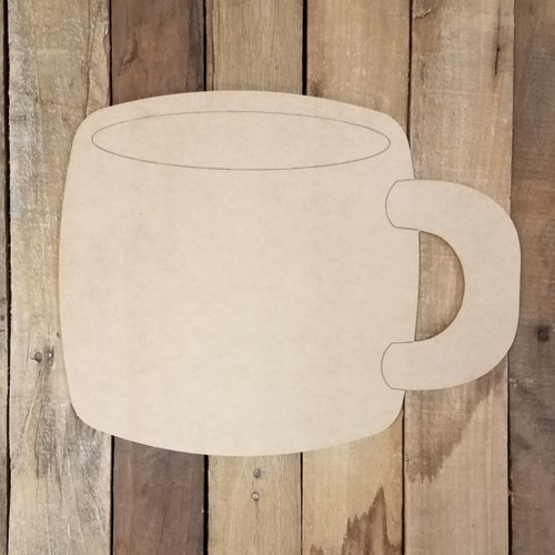 Plain Coffee Mug Cutout, Unfinished Shape, Paint by Line