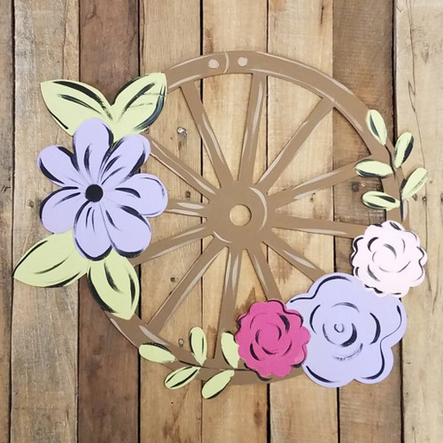 Wagon Wheel With Flowers Cutout, Unfinished, Paint by Line