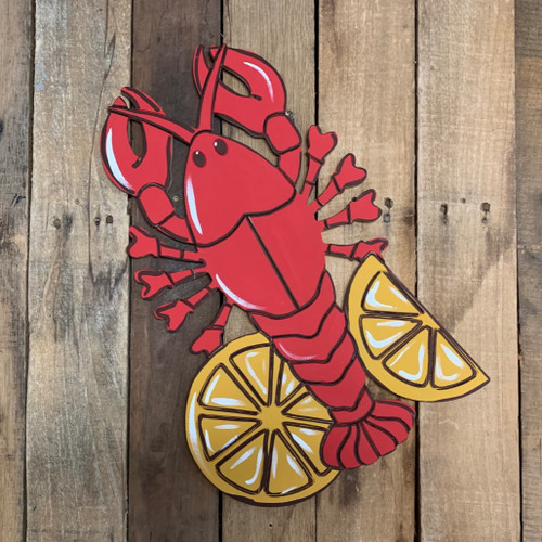 Crawfish With Lemon, Wood Cutout, Shape, Paint by Line