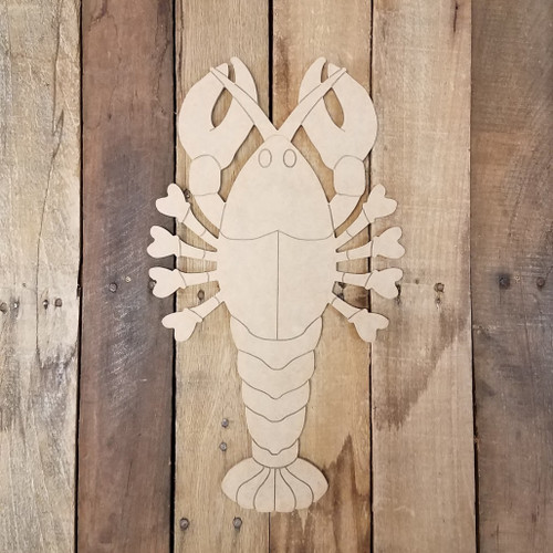 Cajun Crawfish, Wood Cutout, Shape, Paint by Line