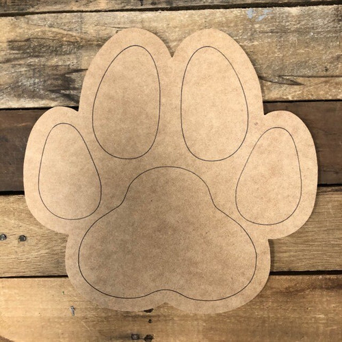 Dog Paw Print Cutout, Unfinished Shape, Paint by Line