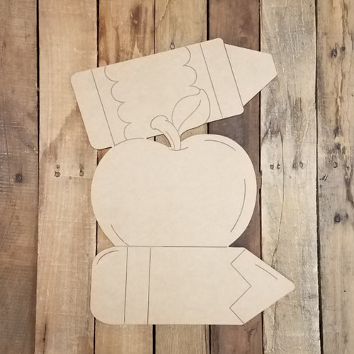 Apple and Pencils Cutout, Wood Shape, Paint by Line