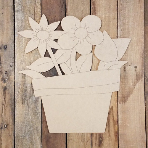 Spring Flowers in Pot Shape, Wood Cutout, Paint by Line