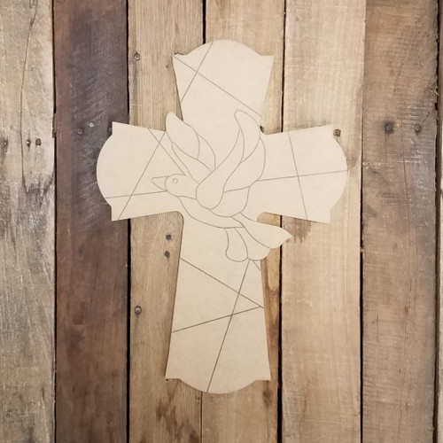 Mosaic Cross With Dove 61 Stained Glass Wood Shape, Paint by Line