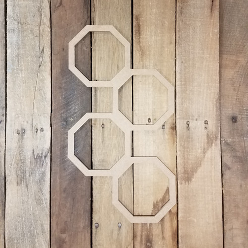 Connected Octagon Rings Unfinished, Wooden Shape, Paintable Wooden MDF DIY Craft
