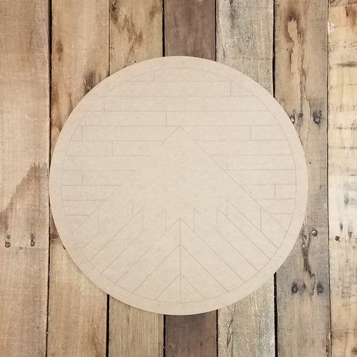 Geometric Art Mountain Circle, Unfinished Wood Shape
