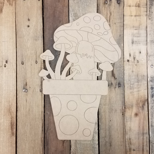 Mushrooms in Flower Pot, Unfinished Wood Craft Shape, Paint by Line