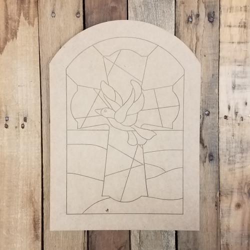 Dove Cross Mosaic Window Shape, Unfinished Wood Shape