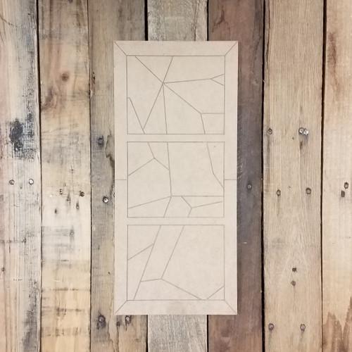 Three Panel Mosaic Window Design, Unfinished Wood Shape