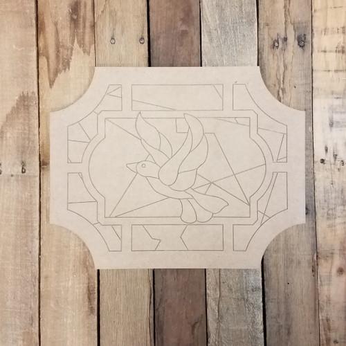 Dove Pattern Mosaic Window Shape, Unfinished Wood Shape