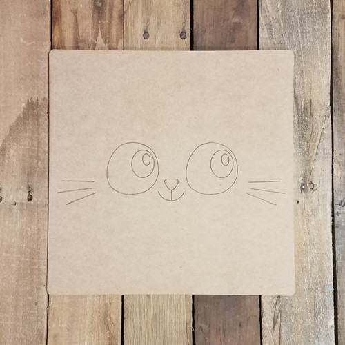 Cute Kitty Face Square, Unfinished Craft, Paint by Line