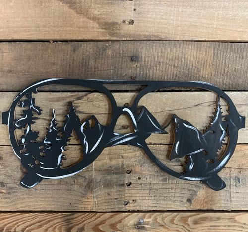 Sunglasses with Mountain Reflection, Unfinished Wood Shape