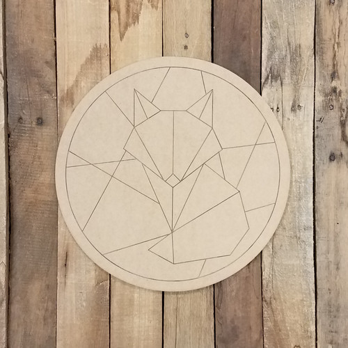 Geometric Art Fox in Circle, Unfinished Wood Shape, Paint By Line
