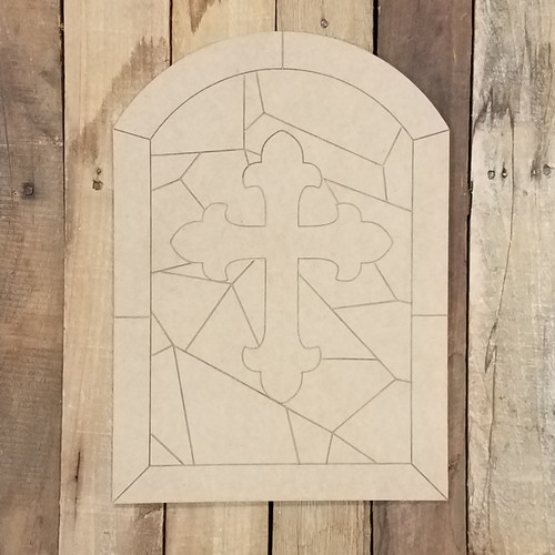 Ornate Cross Stained Glass Window Wood Shape, Paint by Line