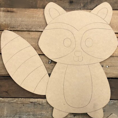 Raccoon Cutout, Unfinished Animal Shape, Paint by Line