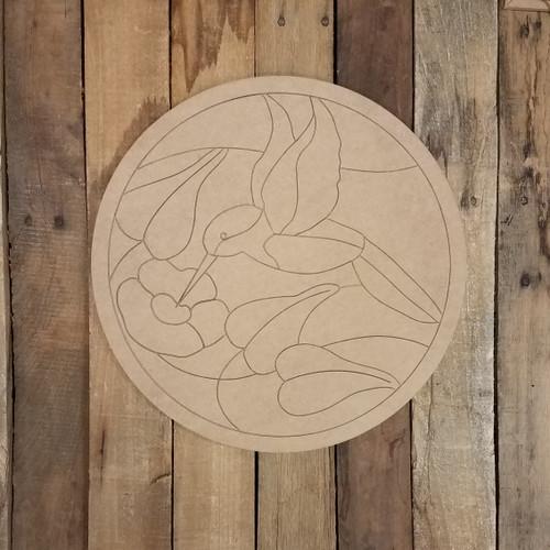Hummingbird Geometric Art Circle, Unfinished Wood Shape, Paint By Line