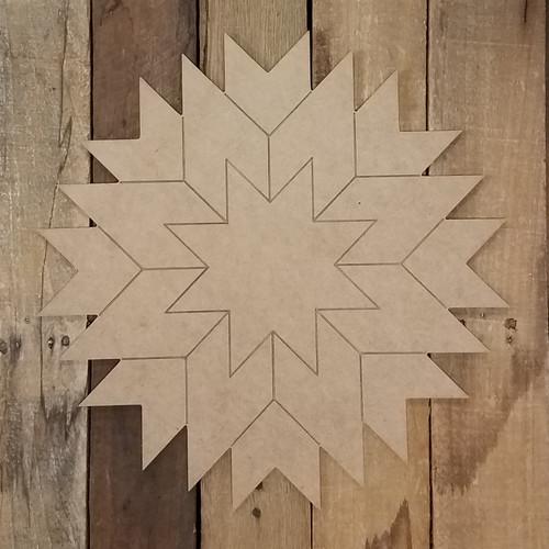Star Burst Geometric Art, Unfinished Wood Craft Shape, Paint By Line