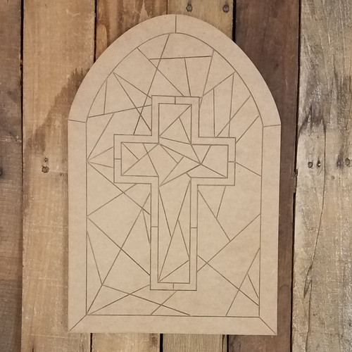 Cross Stained Glass Window Decor Shape, Paint by Line