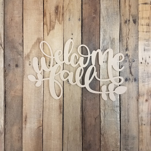 Welcome Fall Shape Phrase, Unfinished Craft Word Paintable DIY