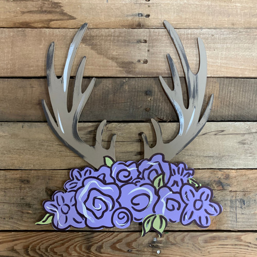 Deer Antler Rack with Floral Cluster, Wood Cutout, Paint by Line
