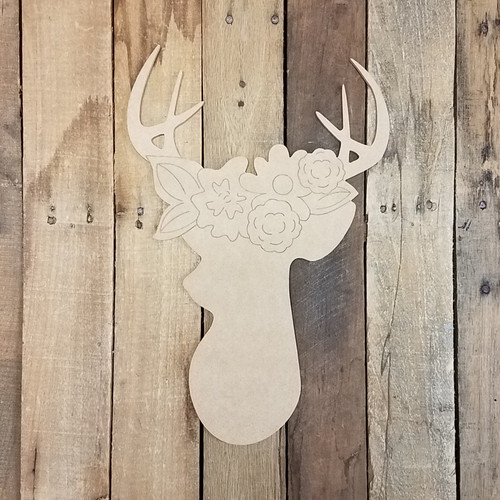 Deer Head with Flowers Wood Cutout, Paint by Line