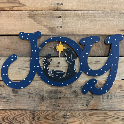New JOY Word Nativity Scene Wood Cutout, Unfinished  DIY Craft