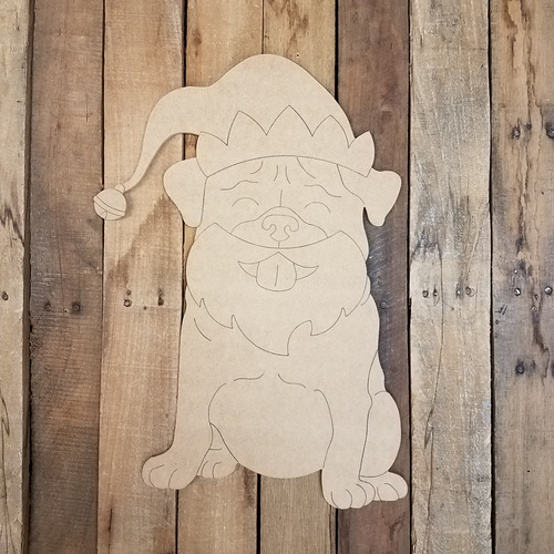 Christmas Elf Pug, Wood Cutout, Shape, Paint by Line