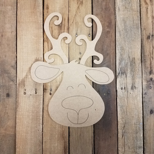 Smiling Reindeer Cutout, Shape, Paint by Line