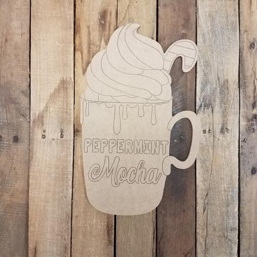 Peppermint Mocha Mug, Wood Cutout, Shape, Paint by Line