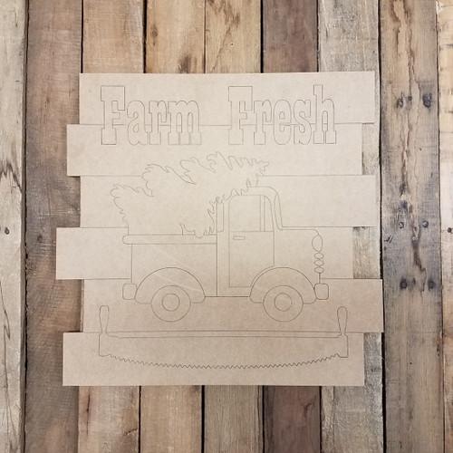 Farm Fresh Christmas Shiplap, Wood Cutout, Shape, Paint by Line