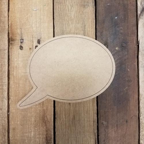 Blank Round Speech bubble, Paint by Line Wooden Shape