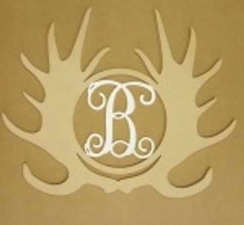 Antler Monogram Moose Insert Wooden Unfinished DIY Craft