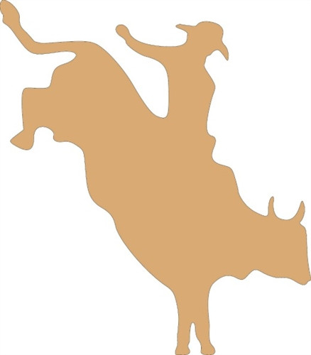Bull With Cowboy Unfinished Cutout, Wooden Shape, Paintable Wooden MDF