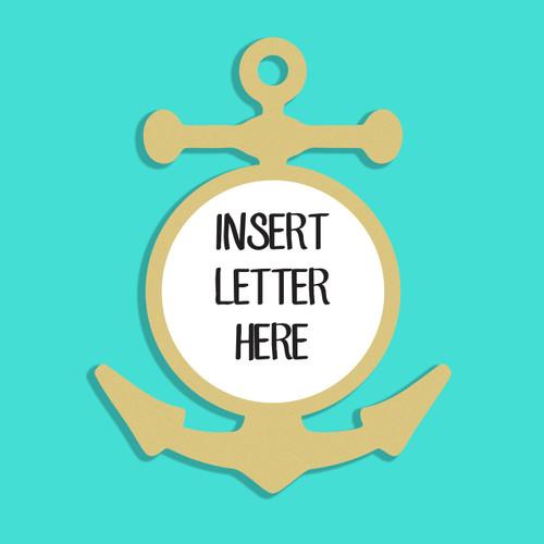 Anchor Frame Letter Insert Wooden Monogram Unfinished DIY Craft