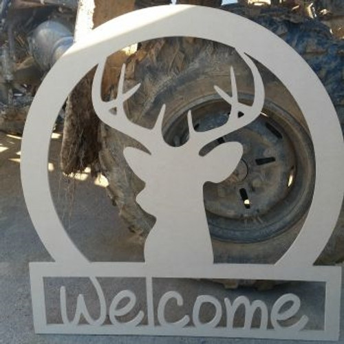Deer Head Sportsman Welcome Sign, Beadboard Unfinished DIY Craft
