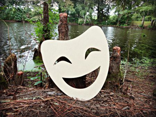 Happy Mask Unfinished Cutout, Wooden Shape, Paintable Wooden MDF DIY